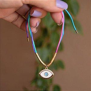 Tornozeleira fios de seda com olho grego branco