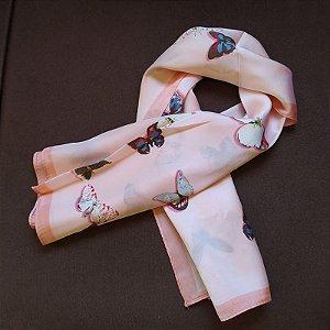 Lenço quadrado borboletas rosa