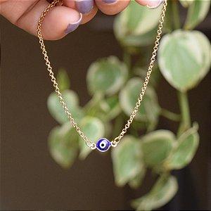 Tornozeleira corrente olho grego ouro semijoia