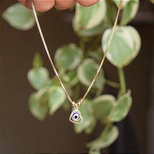Tornozeleira corrente olho grego com coração ouro semijoia