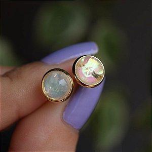 Brinco redondo cristal opala ouro semijoia