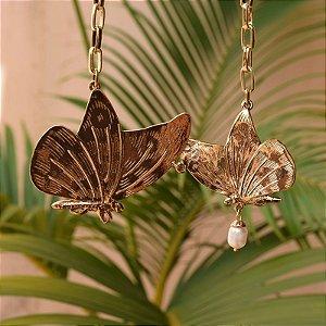 Colar corrente borboletas pérola dourado
