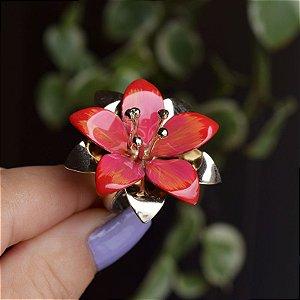 Anel flor pintado à mão rosa com laranja