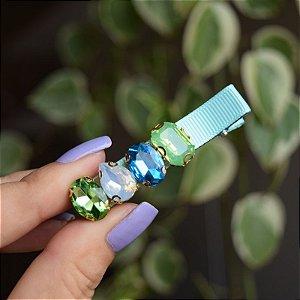 Presilha bico de pato gorgurão verde cristais coloridos
