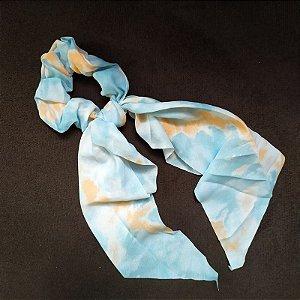 Elástico para cabelo scrunchie tie dye azul com laranja 560297
