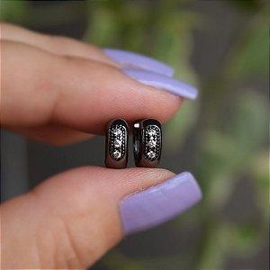 Brinco argolinha zircônia ródio negro semijoia 3766