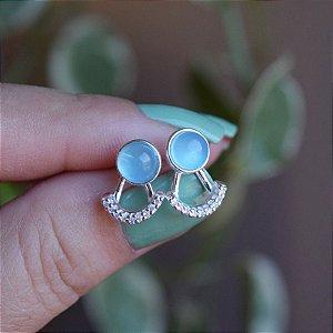 Brinco ear jacket pedra natural ágata azul céu e zircônia prata 925