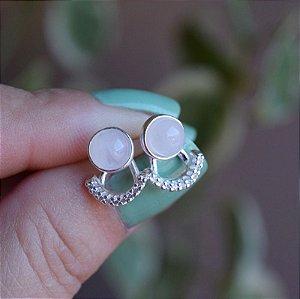 Brinco ear jacket pedra natural quartzo rosa e zircônia prata 925