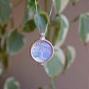 Colar árvore da vida pedra natural opalina prata 925