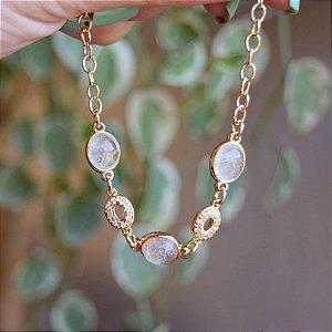 Pulseira pedra natural cristal rutilado ouro semijoia
