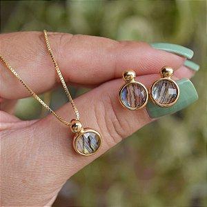 Colar e brinco pedra natural abalone ouro semijoia