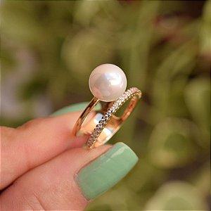 Anel pérola shell com zircônia ouro semijoia