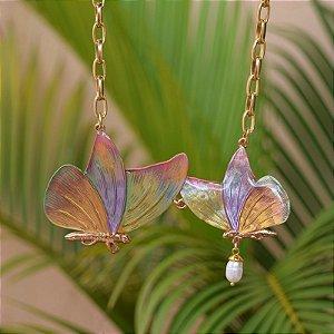 Colar corrente borboletas pintado à mão colorido