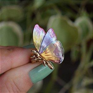 Anel ajustável borboleta colorida pintado à mão dourado