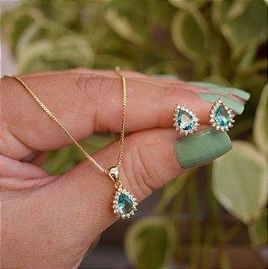 Colar e brinco gota cristal verde turmalina ouro semijoia