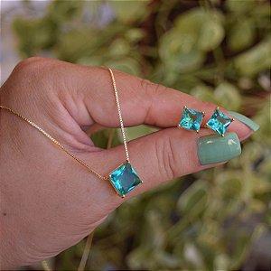 Colar e brinco quadrado cristal verde ouro semijoia