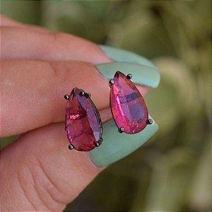 Brinco gota cristal rosa ródio negro semijoia