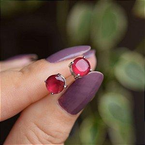 Brinco cristal redondo p rubi ródio semijoia