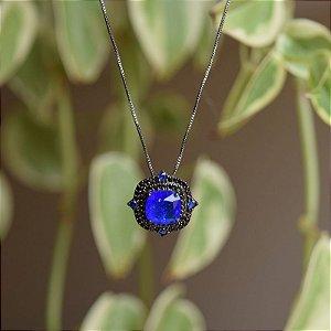 Colar cristal quadrado azul royal zircônia ródio negro semijoia
