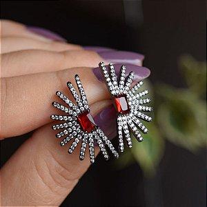 Brinco cristal rubi zircônia ródio negro semijoia