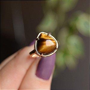 Anel gota pedra natural olho de tigre ouro semijoia