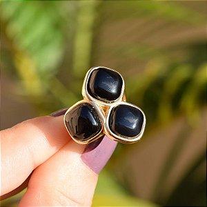 Anel 3 pedras naturais ágata preta ouro semijoia