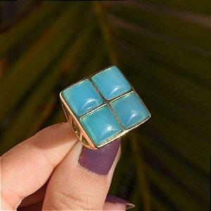 Anel quadrado pedra natural ágata azul céu ouro semijoia