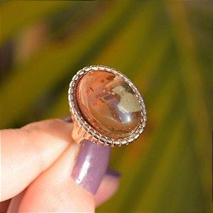 Anel oval pedra natural jaspe ouro semijoia