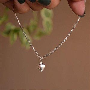 Tornozeleira corrente coração prata 925