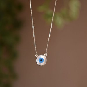 Colar olho grego madrepérola prata 925