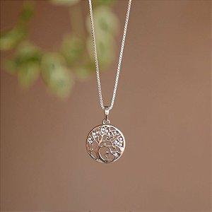 Colar árvore da vida zircônia prata 925