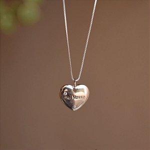 Colar coração Pai Nosso prata 925