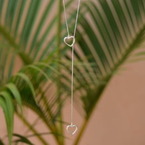 Colar pêndulo coração transpassado prata 925