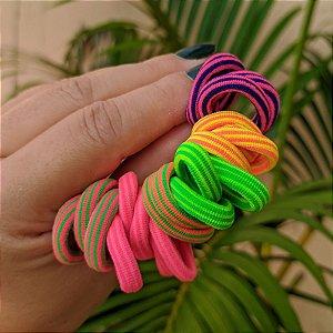 Elástico sem metal coloridos listrados para cabelo 20 peças infantil