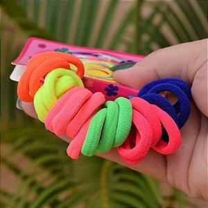 Elástico neon sem metal coloridos para cabelo 20 peças infantil