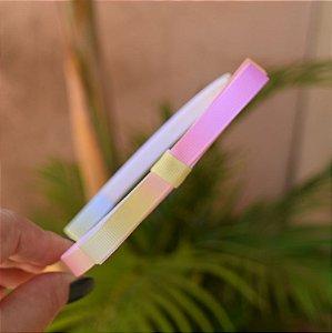 Tiara infantil laço gorgurão tie dye rosa e amarelo