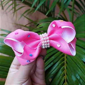 Presilha bico de pato infantil rosa laço com pérolas