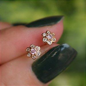 Brinco infantil florzinha zircônia rosa claro ouro semijoia 20K02061