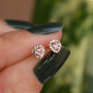 Brinco infantil coração zircônia rosa claro ouro semijoia 20K02048