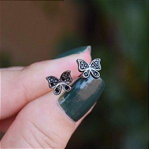 Brinco borboleta zircônia black ródio negro semijoia 20A03042