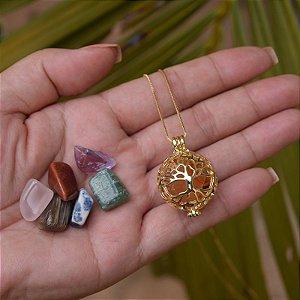 Colar Chamador de Anjo g árvore da vida pedras naturais ouro semijoia