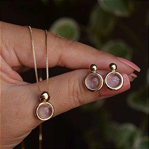 Colar e brinco redondo pedra natural quartzo rosa ouro semijoia