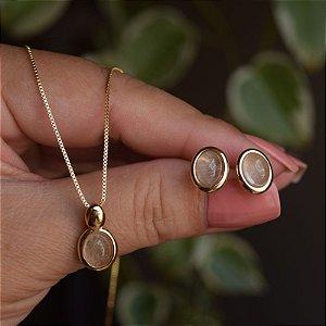 Colar e brinco oval pedra natural rutilo ouro semijoia