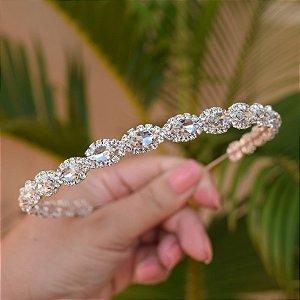 Tiara coroa noiva cristais prateado