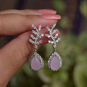 Brinco folha gota cristal rosa leitoso zircônia ródio semijoia