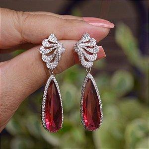 Brinco folha gota cristal rosa pink zircônia ródio semijoia