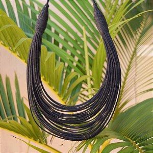 Colar Design Natural fios de algodão preto CO 1341
