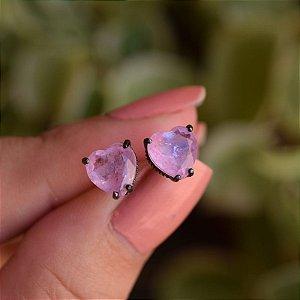 Brinco coração cristal fusion rosa ródio negro semijoia