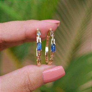 Brinco argola cristal azul ouro semijoia 20A04019