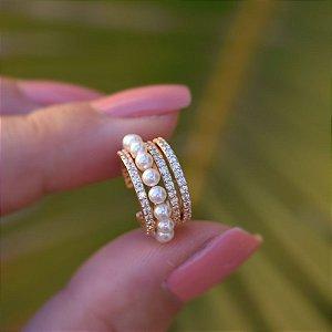 Piercing de encaixe aros zircônias com pérolas ouro semijoia 20A04036